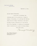 """Autographs:U.S. Presidents, Warren G. Harding Typed Letter Signed as president. One page, 7"""" x8.75"""", September 5, 1922, Washington, D.C., on White Hous..."""