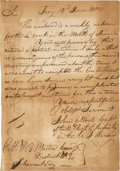 """Autographs:Military Figures, John E. Wool Autograph Document Twice Signed. One page, addressed and franked on the verso, 7"""" x 9.75"""", June 14, 1810, Troy ..."""