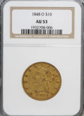 Liberty Eagles: , 1848-O $10 AU53 NGC. NGC Census: (17/41). PCGS Population (11/13).Mintage: 35,850. Numismedia Wsl. Price for NGC/PCGS coin...