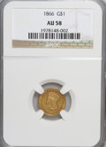 Gold Dollars: , 1866 G$1 AU58 NGC. NGC Census: (7/55). PCGS Population (4/64).Mintage: 7,130. Numismedia Wsl. Price for NGC/PCGS coin in A...
