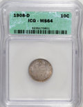 Barber Dimes: , 1908-D 10C MS64 ICG. NGC Census: (29/30). PCGS Population (24/28).Mintage: 7,490,000. Numismedia Wsl. Price for NGC/PCGS c...