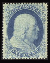 #18, 1861, 1c Blue, XF 90 PSE. (Original Gum - Previously Hinged)