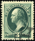Stamps, #184, 1879, 3c Green, XF-S 95J PSE. (Used)....