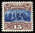 Stamps, #129, 1875 Re-Issue, 15c Brown And Blue. (Original Gum - Previously Hinged)....
