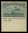Stamps, #232, 1893, 3c Green, XF-S 95 PSE. (Original Gum - Never Hinged)....