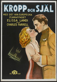 "Body and Soul (Fox, 1931). Swedish One Sheet (27.5"" X 39.5""). War"