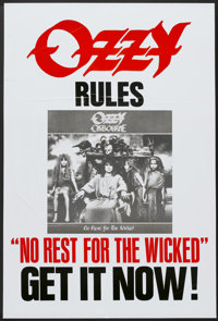 """No Rest for the Wicked (Sony, 1988). Music Poster (25.5"""" X 37.5""""). Rock and Roll"""