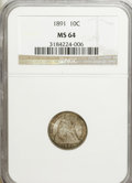 Seated Dimes: , 1891 10C MS64 NGC. NGC Census: (259/189). PCGS Population(205/158). Mintage: 15,310,600. Numismedia Wsl. Price forNGC/PCG...