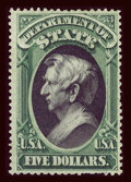 Stamps, #O69, 1873, $5 Green And Black. (Original Gum - Hinged)....
