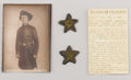 Military & Patriotic:Civil War, Pair of Confederate Major's Stars, Hand Sewn with Blue backing. These Confederate Major's stars would have been sewn on eith...