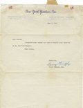 Autographs:Letters, 1949 Casey Stengel Signed Typed Letter. Signed in the midst of thedebut season of his epic reign as the Yanks' skipper, th...