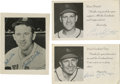 Autographs:Post Cards, Vintage Baseball Stars Signatures Lot of 3. A pair of vintage postcards from ex-Cardinals Eddie Dyer and Enos Slaughter are...