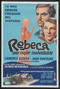 """Movie Posters:Hitchcock, Rebecca (United Artists, R-1960s). Argentinean One Sheet (29"""" X43""""). Hitchcock. Starring Laurence Olivier, Joan Fontaine, J..."""