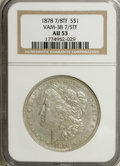 Morgan Dollars: , 1878 7/8TF $1 7/5TF Weak AU53 NGC. Vam-38. NGC Census: (0/0). PCGSPopulation (4/2244). Mintage: 544,000. (#7070)...