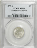 Seated Dimes: , 1875-S 10C Mintmark Below Bow MS64 PCGS. PCGS Population (49/19).NGC Census: (49/43). Mintage: 9,070,000. Numismedia Wsl. ...