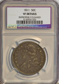 Bust Half Dollars: , 1811 50C Large 8--Improperly Cleaned--NGC. VF20 Details. NGCCensus: (6/525). PCGS Population (4/305). Mintage: 1,203,644. ...