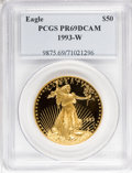 Modern Bullion Coins: , 1993-W G$50 One-Ounce Gold Eagle PR69 Deep Cameo PCGS. PCGSPopulation (1060/14). NGC Census: (802/279). Mintage: 34,389. N...