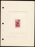 Stamps, #1073P1a, 1956, 3c Bright Carmine, Large Die Proof on Wove Paper....