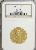 Liberty Eagles: , 1853-O $10 AU50 NGC. NGC Census: (30/146). PCGS Population (24/47).Mintage: 51,000. Numismedia Wsl. Price for NGC/PCGS coi...