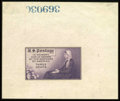 Stamps, #737P1a, 1934, 3c Deep Violet, Large Die Proof on White Wove Paper....
