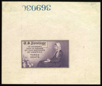 #737P1a, 1934, 3c Deep Violet, Large Die Proof on White Wove Paper