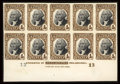 Stamps, #R136P4, 1872, 4c Brown & Black Plate Proof on Card....