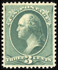 Stamps, #207, 1881, 3c Blue Green, XF 90 PSE. (Original Gum - Never Hinged)....