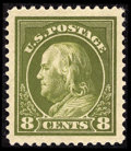 Stamps, #414, 1912, 8c Pale Olive Green, XF-S 95J PSE. (Original Gum - Never Hinged)....