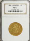 Liberty Eagles: , 1842 $10 Large Date AU53 NGC. NGC Census: (6/14). PCGS Population(6/19). Mintage: 81,507. Numismedia Wsl. Price for NGC/PC...