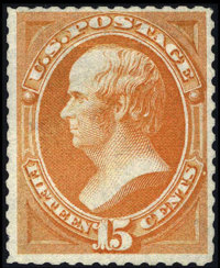 #174, 1875, 15c Bright Orange, VG 50 PSE. (No Gum As Issued)