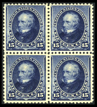 #227, 1890, 15c Indigo. (Original Gum - Never Hinged)