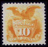 #127, 1875 Re-Issue, 10c Yellow, XF-S 95 PSE. (No Gum)