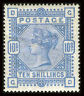 Stamps, Stanley Gibbons #183 (Scott #109), 1884, 10sh Ultramarine. (Original Gum - Hinged)....
