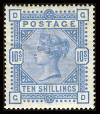 Stanley Gibbons #183 (Scott #109), 1884, 10sh Ultramarine. (Original Gum - Hinged)