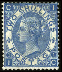Stanley Gibbons #118 (Scott #55), 1867, 2sh Blue. (Partial Original Gum)