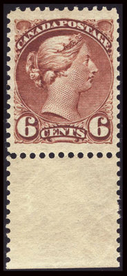 Unitrade #43 (Scott #43), 1888, 6c Red Brown XF 90 XQ PF. (Original Gum - Previously Hinged)