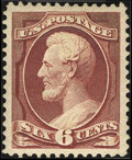 Stamps, #208a, 1882, 6c Deep Brown Red, SUP 98 PSE. (Original Gum - Previously Hinged).... (Total: 1 Slab)