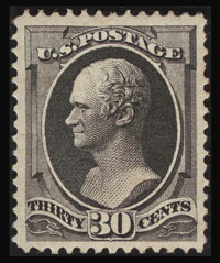 #154, 1870, 30c Black, XF 90; PSE. (Original Gum - Previously Hinged)