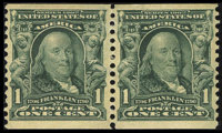 #318, 1908, 1c Blue Green, VF-XF 85 PSE. (Original Gum - Previously Hinged)