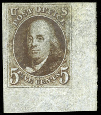 #1a, 1847, 5c Dark Brown, SUP 98J PSE. (Original Gum - Previously Hinged)