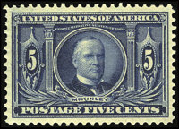 #326, 1904, 5c Dark Blue, XF-S 95J PSE. (Original Gum - Never Hinged)