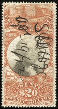 Stamps, #R150, 1872, $20 Org & Blk. (Used)....