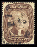 Stamps, #29, 1859, 5c Brown XF 90 PF. (Used)....