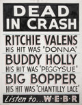 Music Memorabilia:Posters, Buddy Holly, Ritchie Valens and Big Bopper Dead In Crash Poster(WEBR, 1959)....
