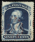 Stamps, #39, 1860, 90c Blue. (Used)....