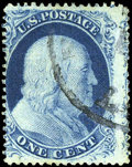 Stamps, #21, 1857, 1c Blue. (Used)....