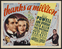 "Thanks a Million (20th Century Fox, 1935). Title Lobby Card (11"" X 14""). Comedy"