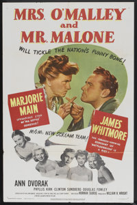 "Mrs. O'Malley and Mr. Malone (MGM, 1951). One Sheet (27"" X 41""). Mystery"