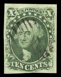 #16, 1855, 10c Green, VF 80 PSE. (Used)