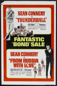 """Thunderball/From Russia with Love Combo (United Artists, R-1968). One Sheet (27"""" X 41""""). James Bond"""